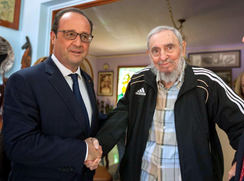 François Hollande con el Dictador Fidel Castro