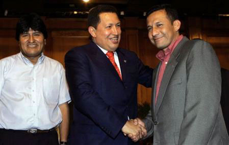 Evo Morales, Hugo Chavez y Ollanta Humala.