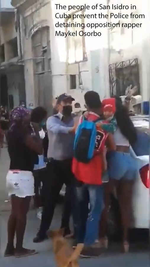 The people of San Isidro in Cuba prevent the Police from detaining opposition rapper Maykel Osorbo