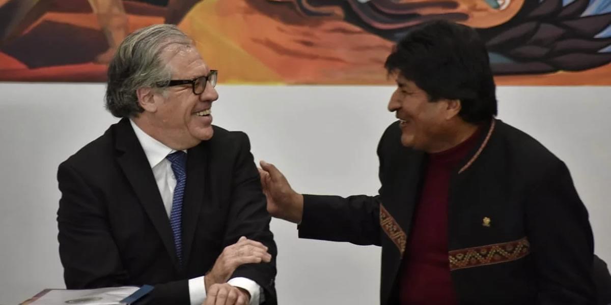 Luis Almagro, Secretario General de la OEA junto a Evo Morales, presidente de Bolivia