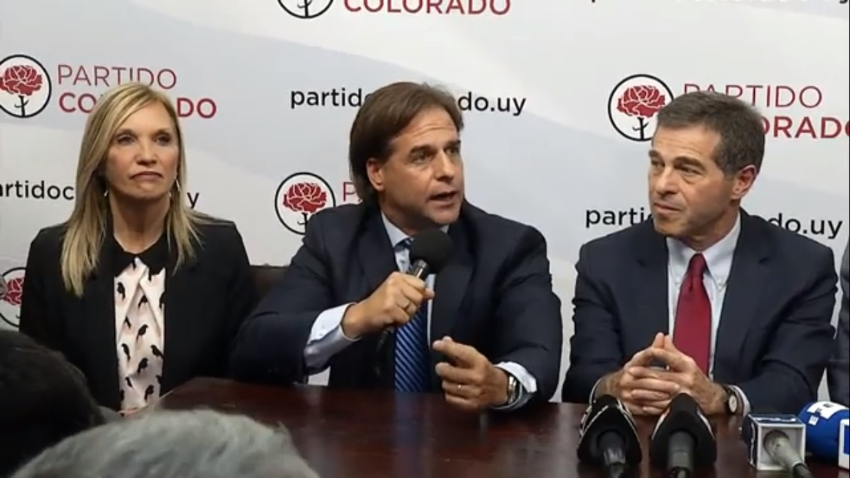 Beatriz Argimón, Luis Lacalle Pou and Ernesto Talvi