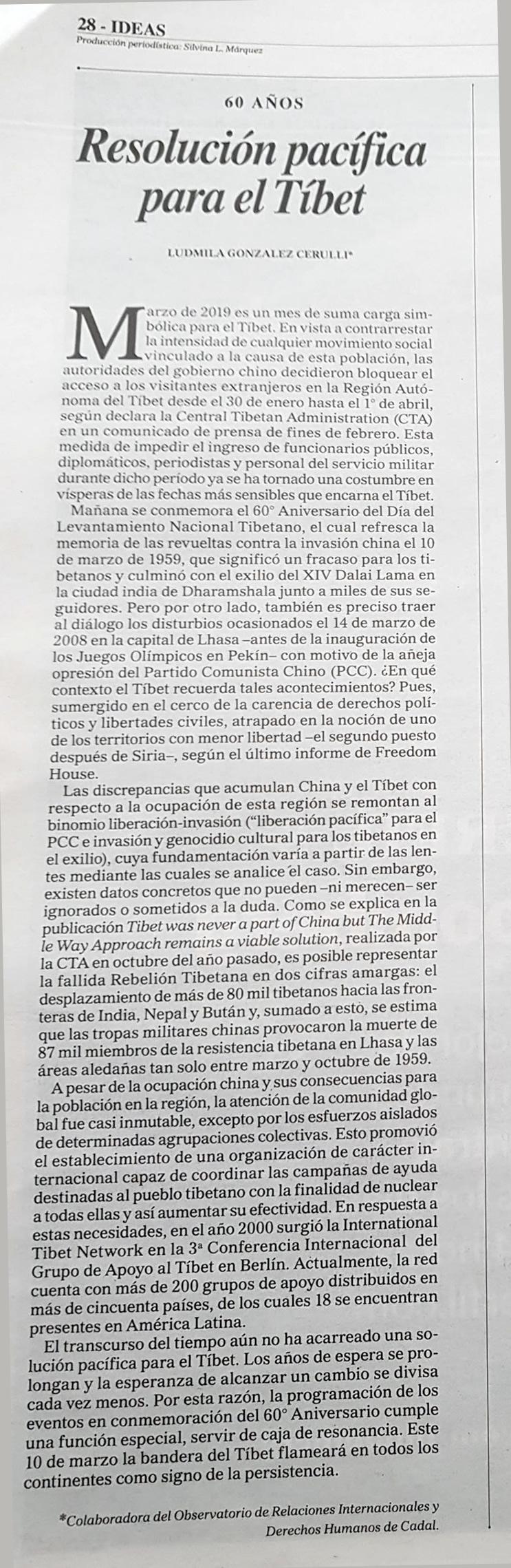60 años: Resolución pacífica para el Tíbet